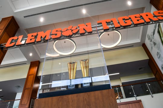 Two National Championship trophies on display at the Reeves Complex in Clemson in June 2019.
