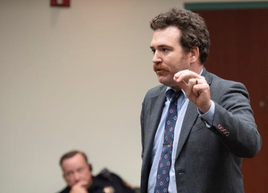 Defense attorney Jake Erwin speaks during a preliminary hearing in Greenville County court Thursday, June 27, 2019.