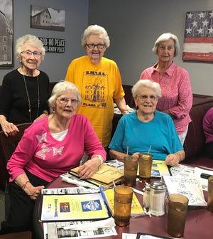 The Golden Girls: (left front) Bettye Joyce Denton, (left back row), Mary Ann Blackwell, (center), Aileen Bradley, (right back row), Elinor Meeks, (right front) Jane Farmer. (Eastgate Restaurant, June 2019).