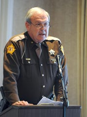 Henderson County Sheriff Ed Brady talks to the Rotary Club about his department since the start of his term at the helm Thursday afternoon, January 21, 2010. (Gleaner photo by Darrin Phegley )