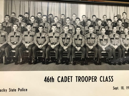 Cadet Trooper Ed Brady, (first row, third from left) in September of 1972.