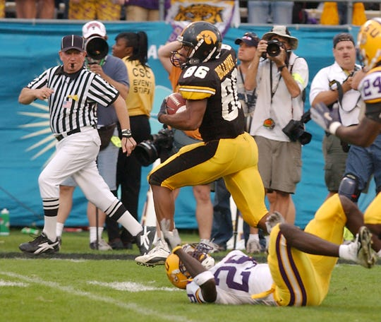Warren Holloway (2001-2004) scored one touchdown in his Hawkeye career, and it was one of the most thrilling in program history. Holloway reeled in a deep pass from Drew Tate and scampered for a 56-yard touchdown as time expired to gave Iowa a 30-25 victory in the Outback Bowl against LSU on Jan. 1, 2005.