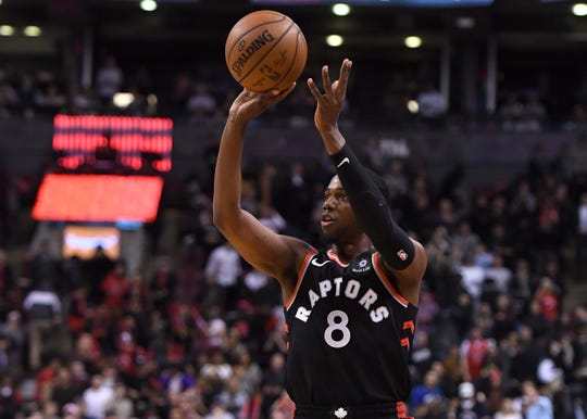 Apr 1, 2019; Toronto, Ontario, CAN; Toronto Raptors guard Jordan Loyd 98) shoots for a basket against Orlando Magic in the second half at Scotiabank Arena. Mandatory Credit: Dan Hamilton-USA TODAY Sports