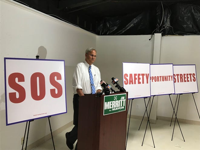 State Sen. Jim Merritt, a Republican candidate for Indianapolis mayor, introduces his public safety agenda June 27, 2019.