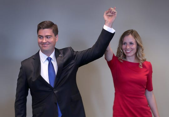 John Westercamp, left, of Bose McKinney & Evans, stands with his fiancee Tarrah McCreary, Thursday, June 27, 2019, after announcing that he is entering the race for the Indiana Republican nomination for Attorney General.