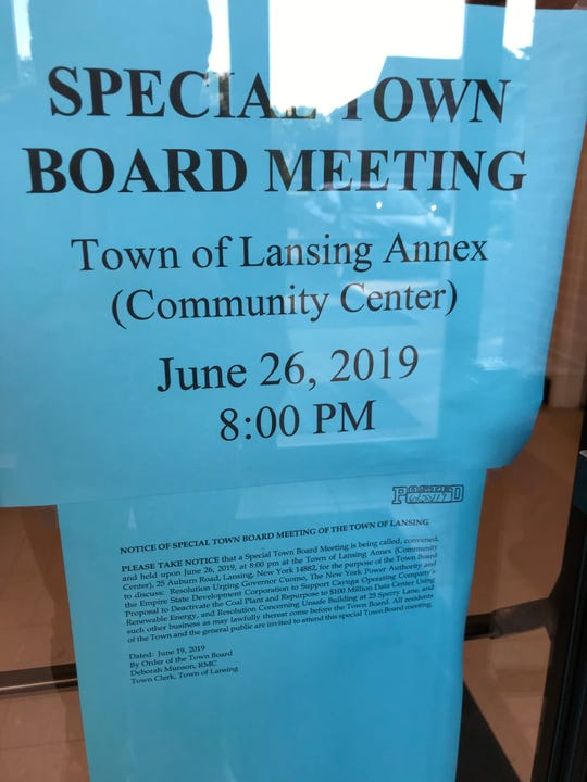 The Lansing Town Board held an emergency meeting Wednesday immediately following Beowulf's presentation.