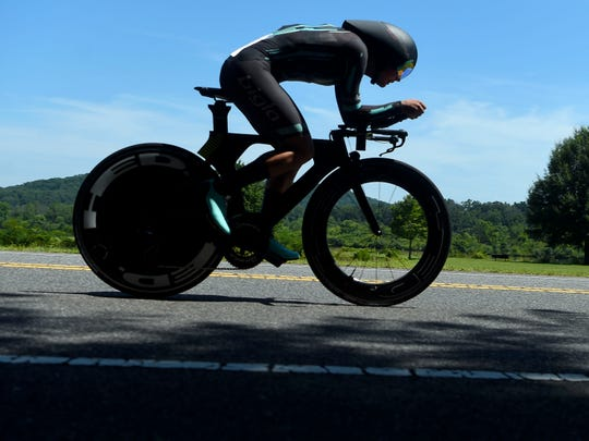 Leah Thomas of Bigla, on Melton Lake Drive in the USA Cycling women's Individual Time Trial in Oak Ridge, Tennessee, Thursday, June 27, 2019.