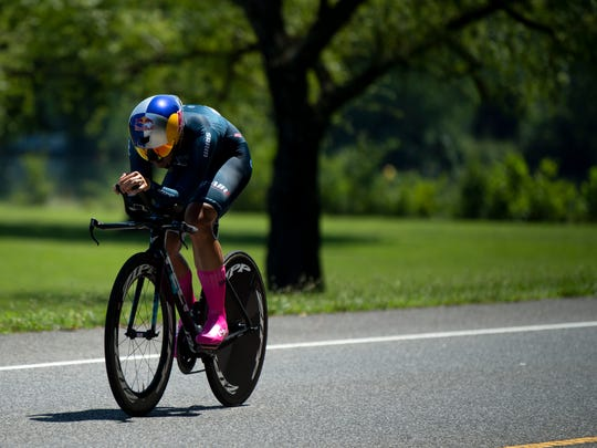 Chloe Dygert Owen of Sho-Air Twenty20, on the final leg of the USA Cycling's women's Pro Individual Time Trial at Melton Lake Park in Oak Ridge Thursday, June 27, 2019.