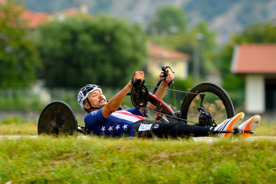 Will Groulx participates in a race at the 2018 UCI Para-cycling Road World Championships in Maniago, Italy.