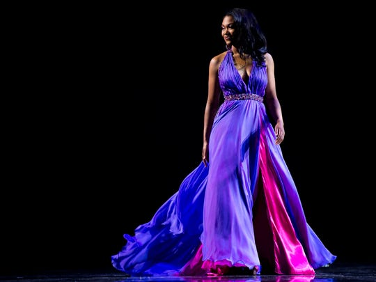Brianna Mason shows off her evening gown during the Miss Tennessee Scholarship Competition preliminaries on June 26.