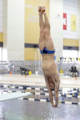 David Boudia practices on the diving boards, Thursday, June 27, 2019 at Purdue University's Morgan J. Burke Aquatic Center in West Lafayette. Boudia and three other divers that train at Purdue have qualified for the FINA World Championships next month in South Korea.