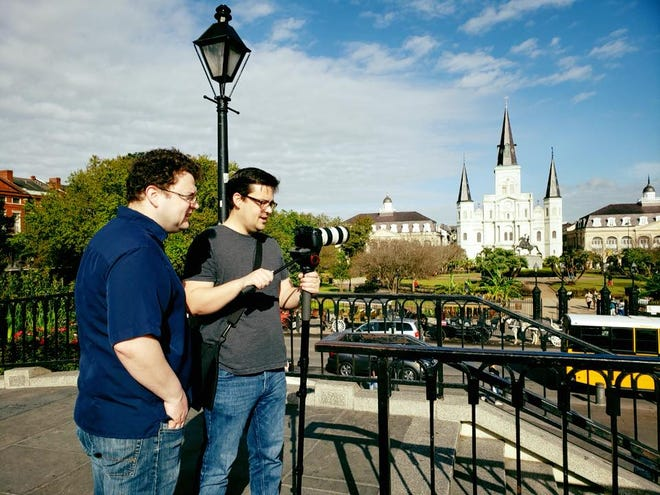 Lafayette brothers David and Nathan Rabalais filming in New Orleans.