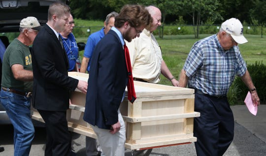A funeral ceremony is held for Sharran Smith on June 27, 2019, at the Meadow View Cemetery as part of the cities indigent burial program.