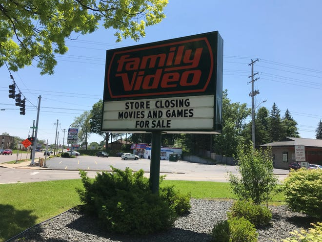 A sign at Family Video in Lansing that closed in 2019. Family Video will close all of its locations in 2021.