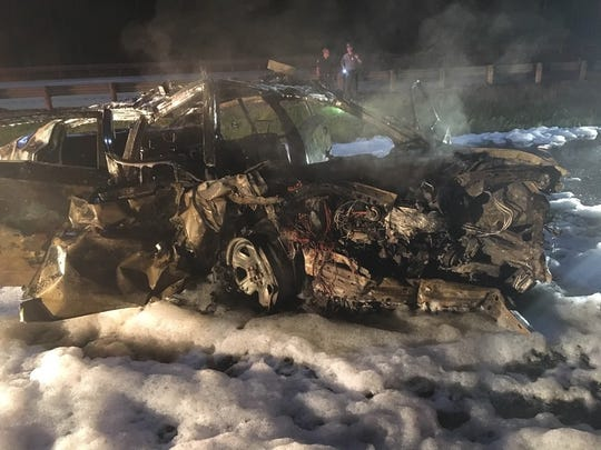 Trooper Jason Phillips was pulled from his burning patrol car by good samaritans who stopped to help after Thursday's wrong-way crash on I-71 in Morrow County.