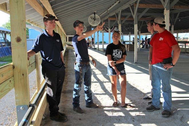 Left to right, Max Russell, Logan Edington, Melanie Lee, Grant Ferguson and Garret Ferguson show off the newly refurbished dairy barn that they, as dairy exhibitors, now call home at the Marion County Fairgrounds. The barn was the swine barn until the hog exhibitors left for a new barn built just north of Evers Arena.