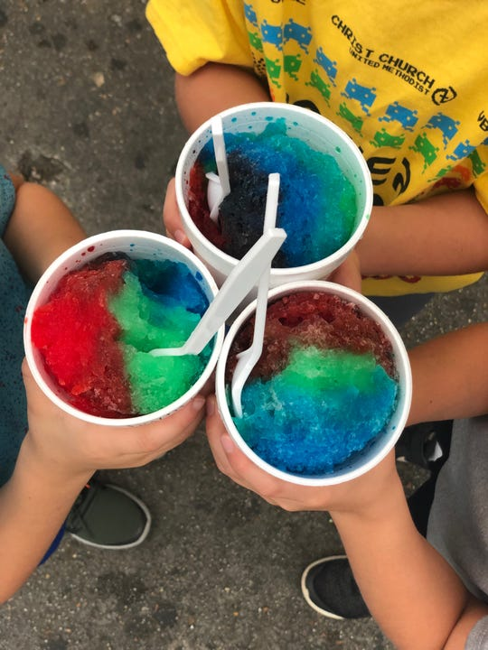 Snow cones in a rainbow of colors at Jerry's on Wells Station Rd.