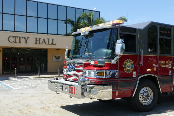 A Marco Island Fire and Rescue truck  is parked at City Hall on June 27, 2019.