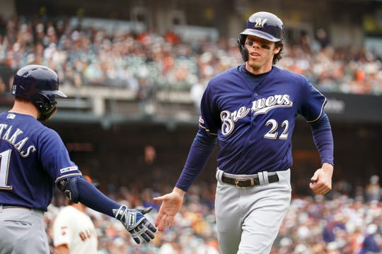 Christian Yelich leads the majors with 29 home runs at the midpoint of the Brewers' season.