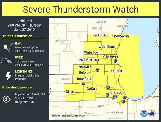The Milwaukee metro area is under a severe thunderstorm watch until 9 p.m. on Thursday.