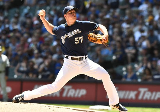 Brewers starting pitcher Chase Anderson held the Mariners in check into the sixth inning.