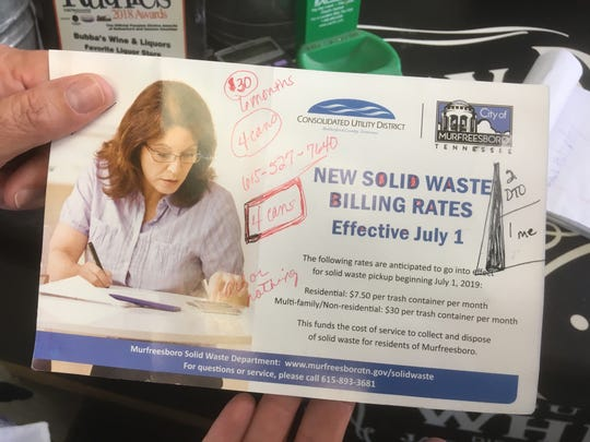 This postcard sent to Bubba's Wine and Liquors shows the new trash billing fees in Murfreesboro.