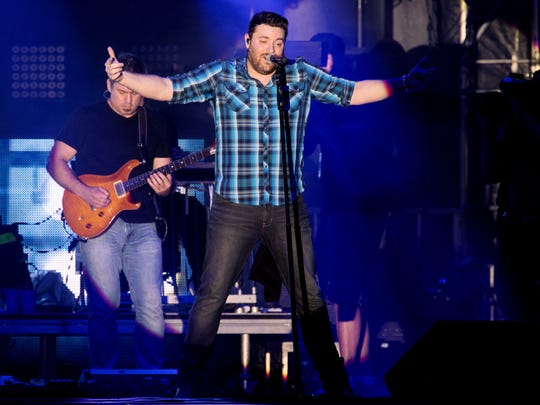Chris Young performs during Fourth of July celebrations in downtown Nashville for 2017.