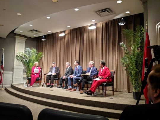 Nashville's top mayoral candidates David Briley, John Ray Clemmons, John Cooper and Carol Swain at a debate Wednesday, June 26, 2019 hosted by the Nashville Public Education Foundation, Oasis Center, Conexión Américas and WSMV-TV.