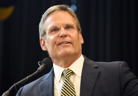 Gov. Bill Lee speaks during a celebration for the College World Series champion Vanderbilt baseball team at Vanderbilt Recreation & Wellness Center Thursday, June 27, 2019, in Nashville, Tenn.