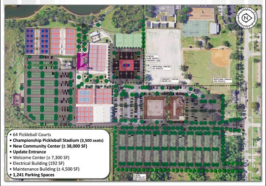 The master plan for East Naples Community Park. While there is no timeline to complete all of the upgrades included in the master plan, phase 1 and phase 2 improvements will be completed in 2021.