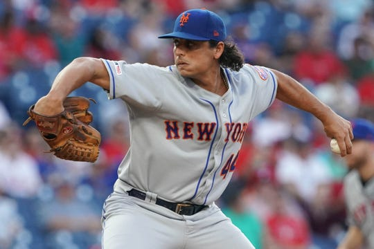 New York Mets starting pitcher Jason Vargas (44) throws a pitch during the second inning against the Philadelphia Phillies at Citizens Bank Park.