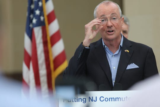 Gov. Phil Murphy speaks at a press conference at the Frank Lautenberg Rail Station, in Secaucus. Murphy announced on time performance of NJ Transit trains has risen. Thursday June 27, 2019