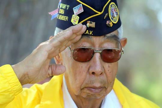 Airman Ruben Acosta, 87, is a fixture at military ceremonies in Deming, NM