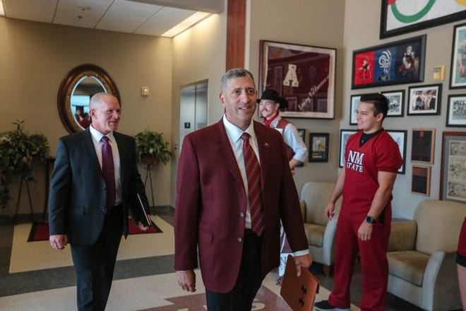 New Mexico State athletics director Mario Moccia, signed a five-year contract this week to remain in Las Cruces.