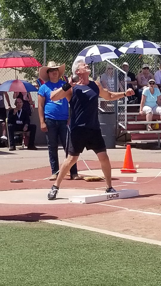 Dennis Diaz, 61, competed in the shot put, discus event and hammer throw events for the 60-to-64 age group. He won the gold in discus and bronze in the hammer throw.