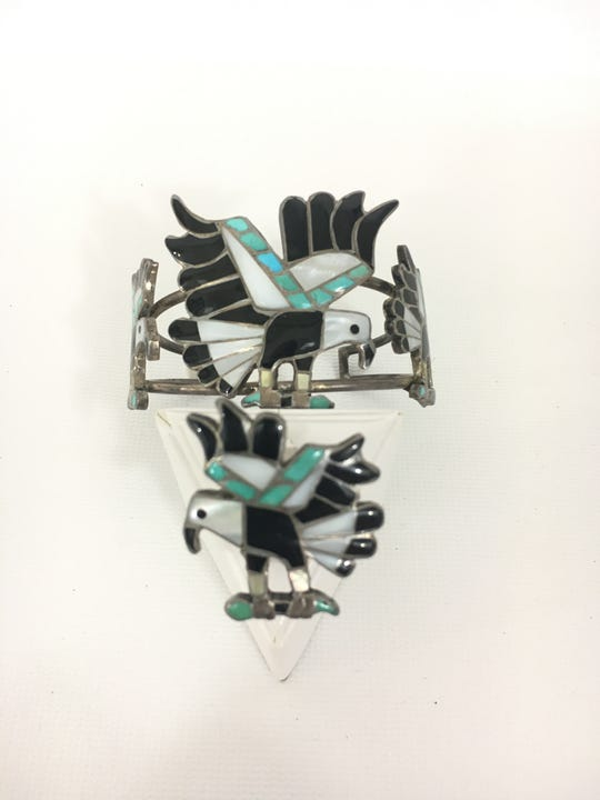 Zuni motif bracelet and ring set, circa 1960