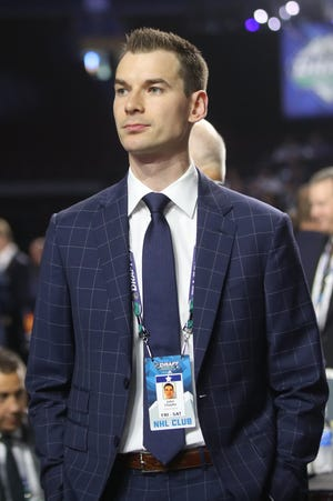 VANCOUVER, BRITISH COLUMBIA - JUNE 21: John Chayka of the Arizona Coyotes attends the first round of the 2019 NHL Draft at Rogers Arena on June 21, 2019 in Vancouver, Canada. (Photo by Bruce Bennett/Getty Images)