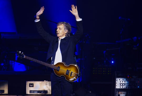 Paul McCartney takes the stage at Talking Stick Resort Arena in Phoenix, Wednesday, June 26, 2019, as part of the Freshen Up Tour.
