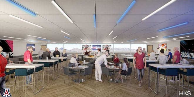 Model photo of new Skybox Club included in Arizona Stadium's west side renovations scheduled to be completed for the 2019 season.