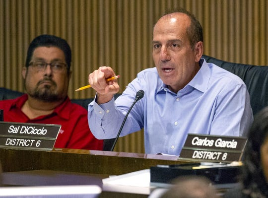 Phoenix Councilman Sal DiCiccio expresses his support for the Phoenix Police Department during a City Council meeting on June 26, 2019.