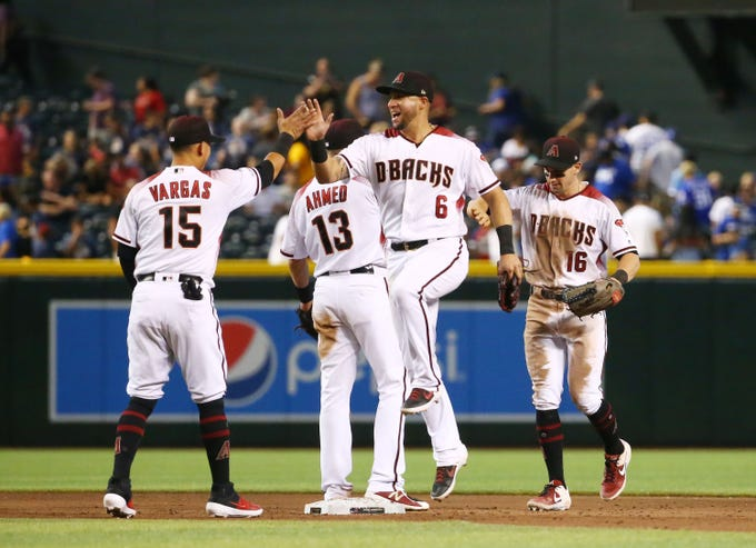 Arizona Diamondbacks David Peralta (6) celebrates after defeating the Los Angeles Dodgers 8-2 on June 26, 2019 at Chase Field in Phoenix, Ariz.