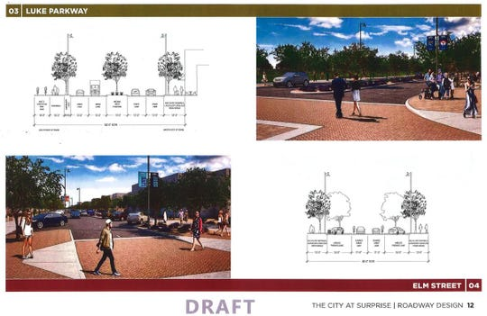 The conceptual design for Luke Parkway  in The City at Surprise draft master plan.