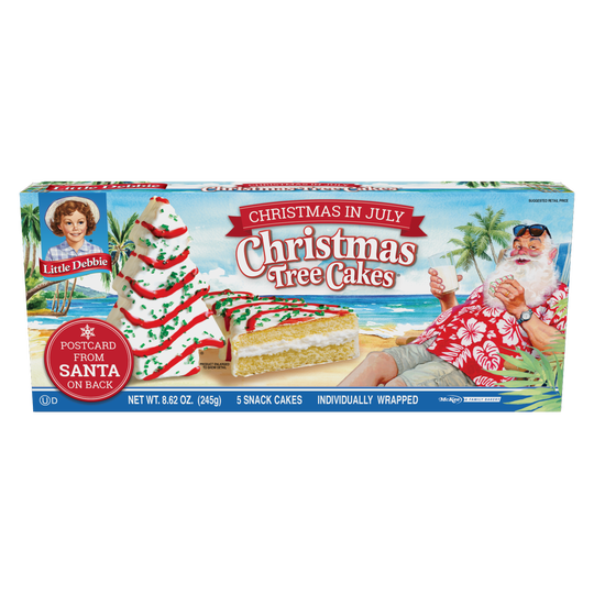 The box for this summer's release of Little Debbie Christmas Tree Cakes.