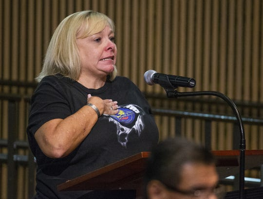 Phoenix Police Department dispatcher Andrea Max speaks during a City Council meeting on June 26, 2019. Max said she and her family received death threats after a recent video went viral, showing Phoenix police officers drawing guns and cursing at a family suspected of shoplifting.