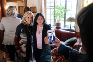 First lady Jill Biden visits with Tuba City Regional Health Care Corp. Chief Executive Lynette Bonar.