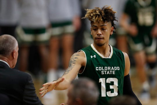 Colorado State Rams guard Lorenzo Jenkins (13) in the first half of an NCAA college basketball game Saturday, Dec. 1, 2018, in Boulder, Colo. (AP Photo/David Zalubowski)