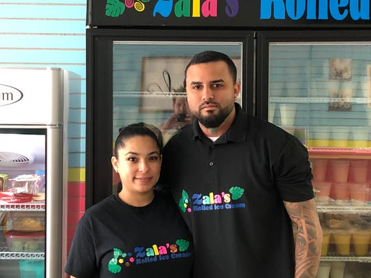 Lee Kilgore (left) and Angel Merced opened Zala's Rolled Ice Cream in Lebanon as a family business.