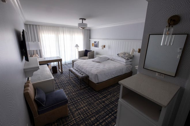 A model guest room at the St. Clair Inn. The hotel is expected to begin booking rooms towards the end of this summer.