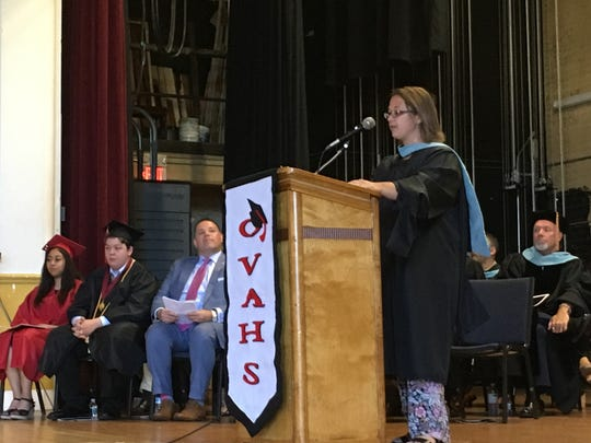 Orchard View Alternative High School Principal Laura DiStefano speaks to the class of 2019 on Wednesday, June 26, 2019.