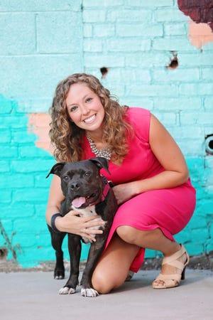 Katie Mahoney and her rescue dog Cora.